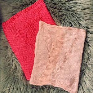 Designer logo hand knitted face towels